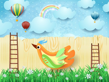 Surreal background with balloons, stairs and colorful bird. Vector illustration eps10 Banque d'images - 104935362