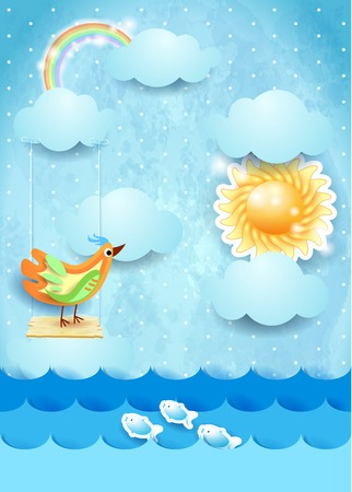 Surreal seascape with sun, swing and bird. Vector illustration eps10