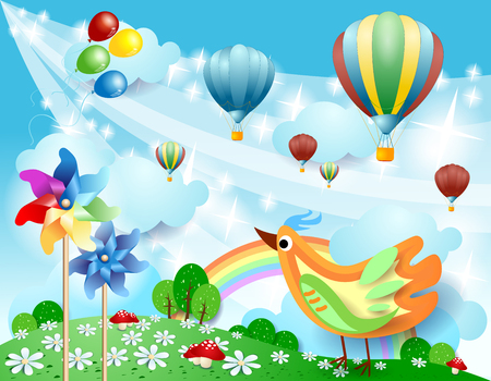Spring landscape with balloons, pinwheels and bird. Vector illustration eps10 Stock Illustratie