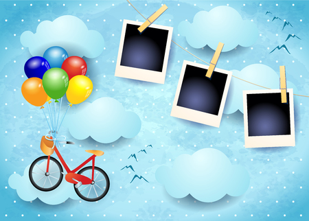 Surreal sky with balloons, bike and photo frames.