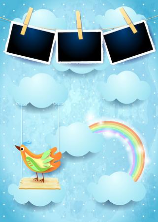 Surreal sky with swing, bird and photo frames. Vector illustration eps10 Ilustração