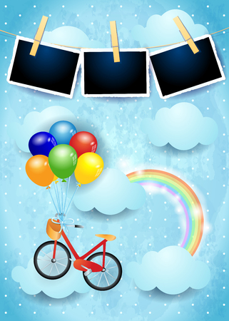 Surreal sky with balloons, bike and photo frames. Vector illustration eps10 Ilustração