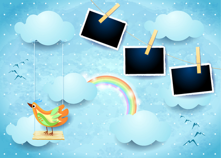 Surreal sky with swing, bird and photo frames. Vector illustration eps10 Ilustração