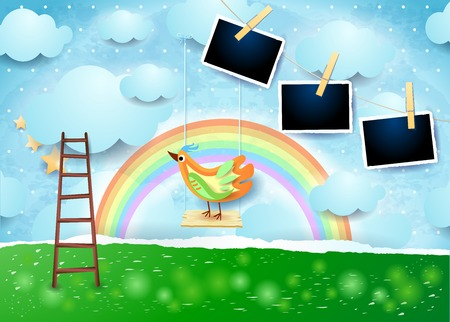 Surreal paper landscape with swing, bird and photo frames. Illustration