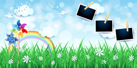 Country landscape with pinwheels and photo frames. Vector illustration eps10