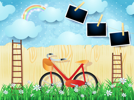 Surreal landscape with stairs, bike and photo frames. Vector illustration eps10
