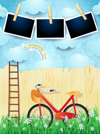 Surreal landscape with stair, bike and photo frames. Vector illustration eps10 Ilustração