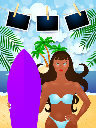 Summer background with attractive girl and photo frames. Vector illustration eps10
