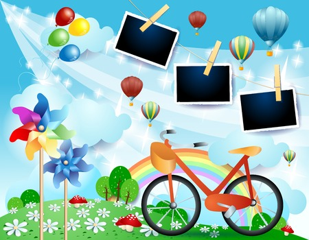 Country landscape with bike and photo frames, vector illustration eps10