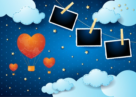 Valentine backround with surreal night, balloons and photo frames. Vector illustration eps10 Illusztráció