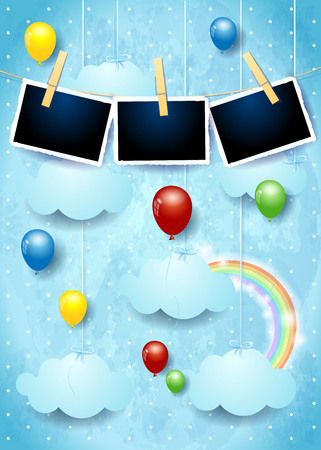 Surreal sky with colorful balloons and photo frames. Vector illustration eps10