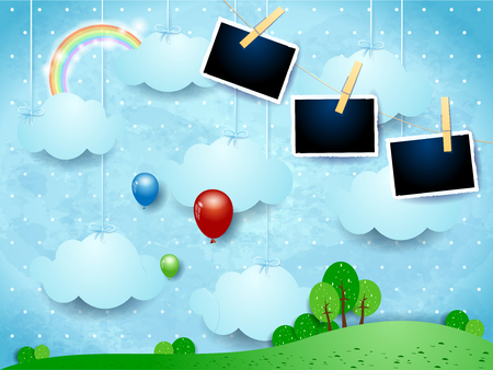 Surreal landscape with hanging clouds, balloons and photo frames. Vector illustration eps10