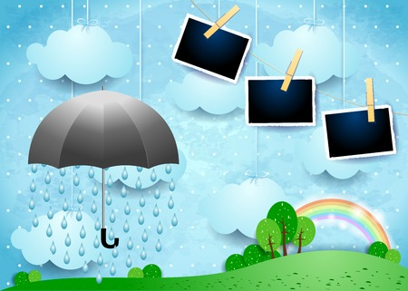 Surreal landscape with umbrella, rain and photo frames. Vecor illustration eps10 Ilustração