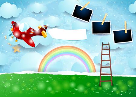 Paisaje de papel surrealista con marcos de avión, banner y fotos. Ilustración vectorial eps10 Ilustración de vector