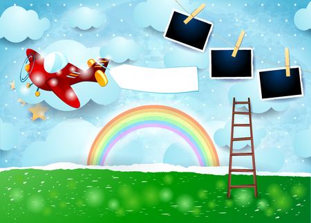 Surreal paper landscape with airplane, banner and photo frames. Vector illustration eps10