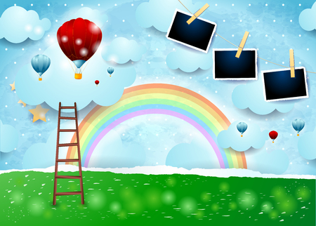 Surreal paper landscape with ladder, balloons and photo frames. Vector illustration eps10 Illustration