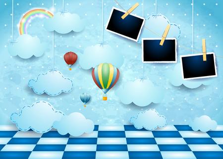 Paisaje surrealista con nubes, piso, globos y marcos de fotos. Ilustración vectorial eps10