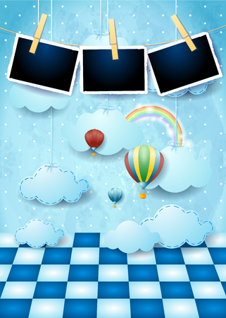 Surreal landscape with floor, balloons, hanging clouds and photo frames. Vector illustration eps10