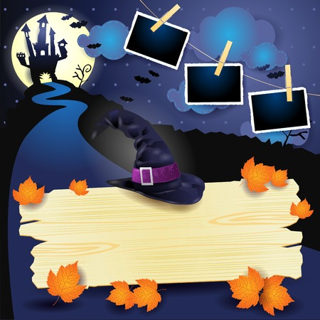 Halloween background with wooden sign, witchs hat and photo frames. Vector illustration eps10 Stock Illustratie