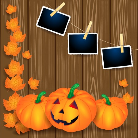Halloween illustration with pumpkins, leaves and photo frames on wooden background. Vector eps10 Standard-Bild - 108956177