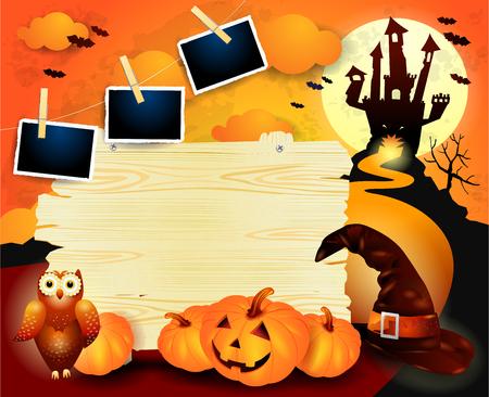 Halloween background with old sign, pumpkins, hat and photo frames. Vector illustration eps10 Standard-Bild - 116227013