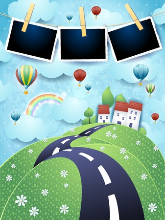 Fantasy landscape with road, balloons and photo frames. Vector illustration eps10 Ilustrace