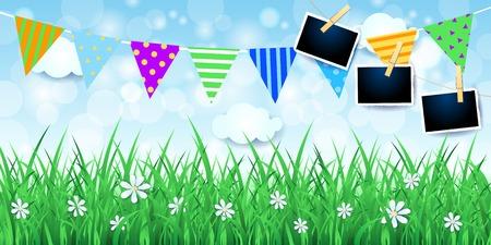 Fondo de primavera con marcos de fotos y festón. Ilustración vectorial eps10
