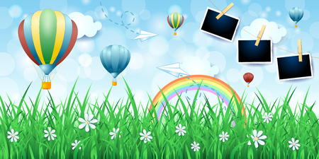 Spring background with balloons and photo frames, vector illustration eps10 Illustration