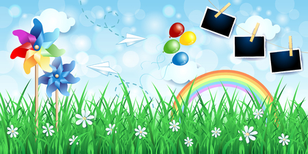 Countryside background with pinwheels, balloons and photo frames. Vector illustration eps10