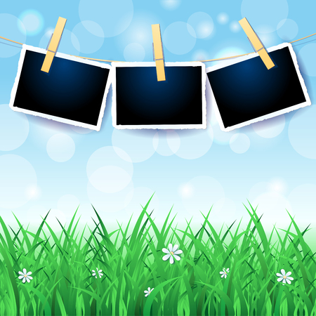 Spring landscape with sky, grass and photo frames. Vector illustration eps10 Illustration