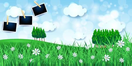 Spring landscape with meadows and photo frames, vector illustration eps10