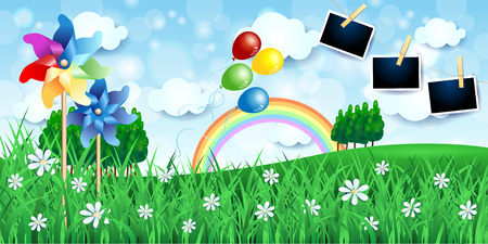 Spring landscape with pinwheels, balloons and photo frames. Vector illustration eps10