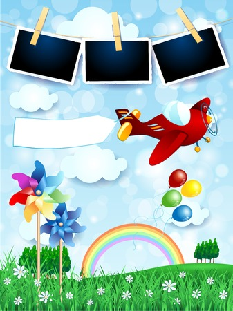 Spring landscape with airplane, banner and photo frames. Vector illustration eps10