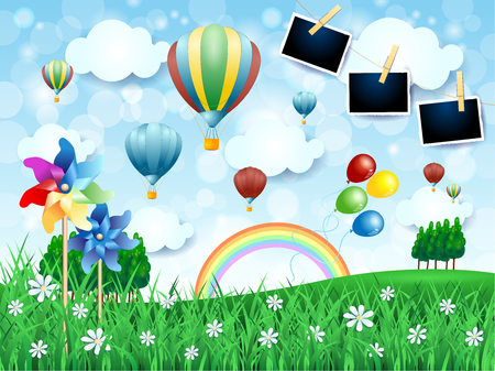 Spring landscape with hot air balloons, pinwheels and photo frames. Vector illustration eps10