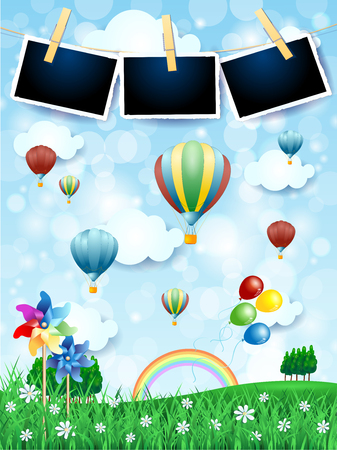 Spring landscape with hot air balloons, pinwheels and photo frames. Vector illustration eps10 Stock Vector - 109664764