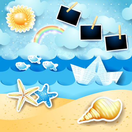 Summer seascape with sun, paper boat and photo frames. Vector illustration eps10