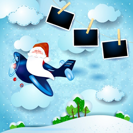 Santa on the airplane and photo frames, day landscape. Vector illustration eps10