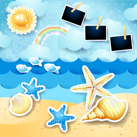 Paper seascape with sun, seashells and photo frames. Vector illustration eps10