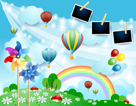 Spring landscape with balloons, pinwheels and photo frames. Vector illustration eps10