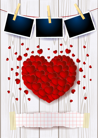 Valentine background with red heart, copy space and photo frames. Vector illustration eps10