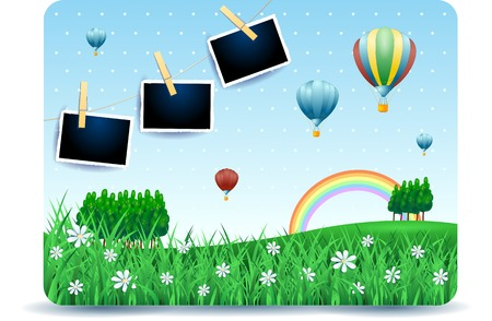 Spring landscape with meadows, balloons and photo frames. Vector illustration eps10