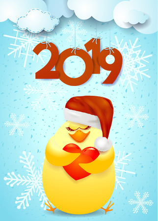 New Year background with funny chick, Santas hat and text. Vector illustration eps10