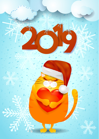 New Year background with funny cat, Santas hat and text. Vector illustration eps10 Illustration
