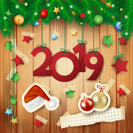 New Year background with text and paper elements, vector illustration eps10