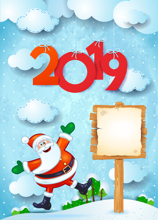 New Year background with funny Santa, sign and text. Vector illustration eps10