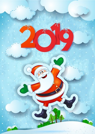 New Year background with funny Santa and text, vector illustration eps10