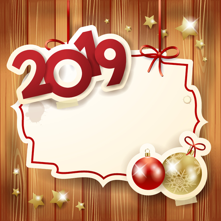 New Year background with baubles, label and text. Vector illustration eps10