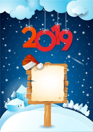 New Year background with sign, Santas hat and text. Vector illustration eps10