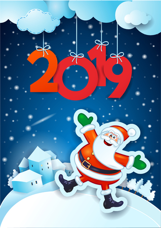 New Year background with happy Santa and text, vector illustration eps10