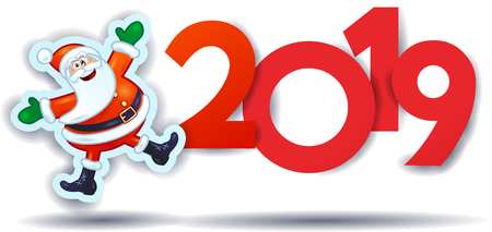 Funny Santa Claus and text, New Year illustration. Vector eps10
